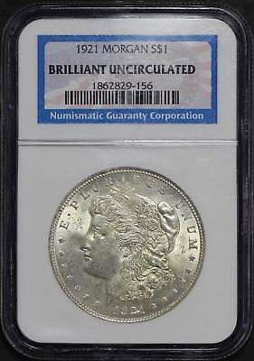 1921 Morgan Silver Dollar NGC Brilliant Uncirculated