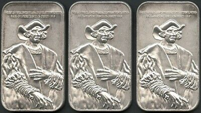 (Lot of 3) 1973 Christopher Columbus Portrait 1 oz .999 Fine Silver Bars USC