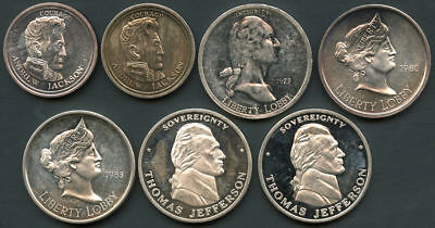 7 Pc. Collector's Set Liberty Lobby 1 oz and 1/2 oz .999 Fine Silver Rounds