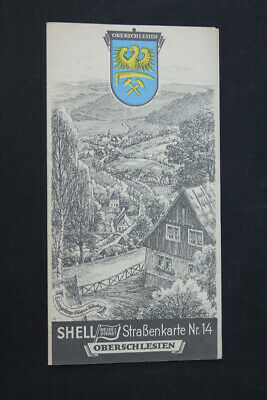 Old Map Road Map Shell No. 14 Upper Silesia Old Vintage