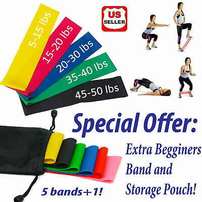 Set of 6 Resistance Bands Loop Exercise Workout CrossFit Fitness Yoga Booty Band