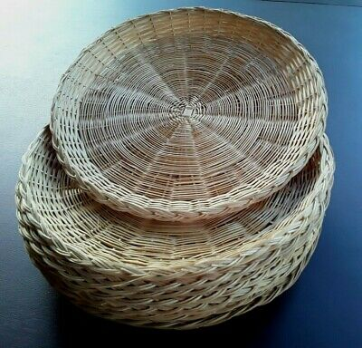 "1960s Lot of 9 VINTAGE Wicker 10"" Paper Plate Holders Picnic Party RATTAN"