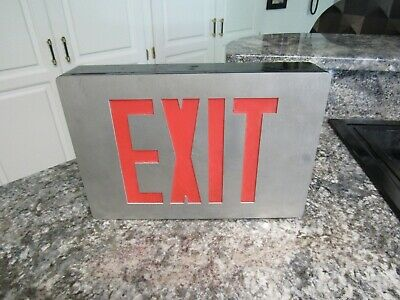Vintage Exit Sign Industrial Metal Boxed Lighted Type