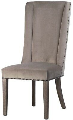 "44"" T Lorenza High Back Chair Exposed Tack Trim Soft Grey Fabric Solid Hardwood"