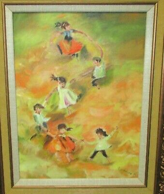 Lorraine P. Children Playing In A Field Original Oil On Canvas Painting
