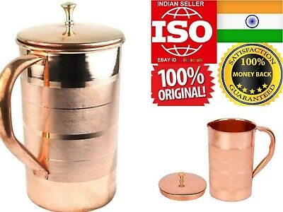 Pure Copper Water Jug Pitcher Jar 1.5L Taamba Flask Container Drink Hot Cold Yog