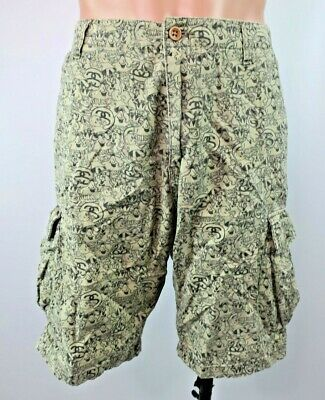 VTG 80s Stussy Shorts Spell Out All Over Print Military Tactical Cargo Sz 36