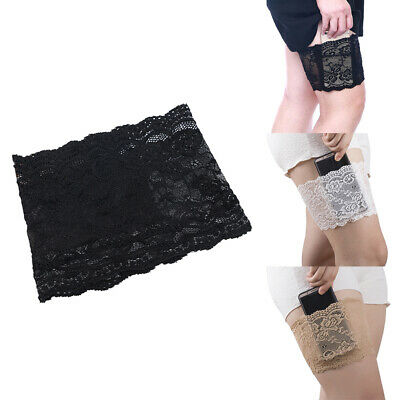 Anti-Chafing Thigh Womens Non Slip Lace Elastic Socks Pocket Bands Legs Ladies