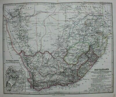 Original antique map SOUTH AFRICA, TRANSVAAL, NATAL, 'DAS CAPLAND', Stieler 1886
