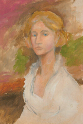 20th Century Gouache - Portrait of a Lady in White