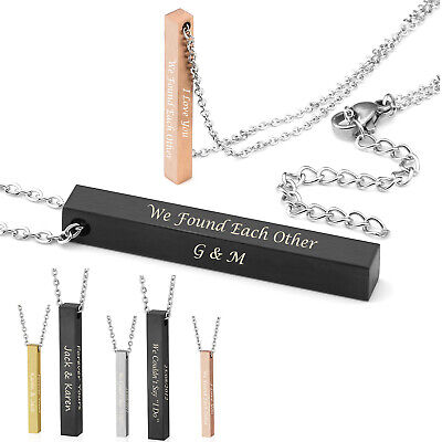Personalised Engraved Womens Stainless Steel Rectangle Bar Pendant Necklace DIY