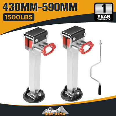 2X 590mm DROP DOWN CORNER STEADIES STABILIZER LEGS CARAVAN CAMPER TRAILER NEW