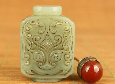 Rare antique old natural jade hand carving Buddha statue snuff bottle noble gift
