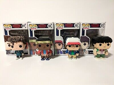 Funko Pop Stranger Things Lot Dustin Snowball Dance - 8 Bit Mike, Dustin, Lucas