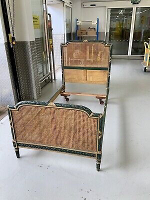Antique Campaign Rattan Single Bed Vintage