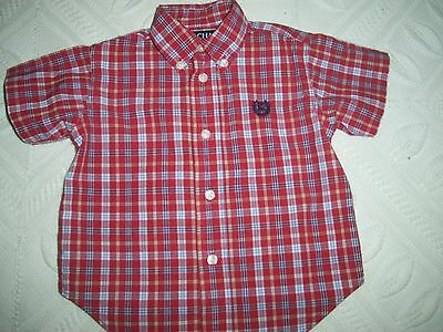 Chaps Infant Boy Navy/White/red plaid Short Sleeve Shirt - size 18 months