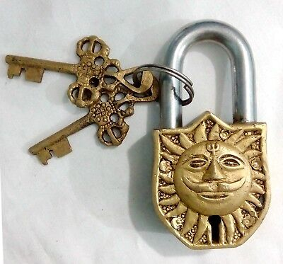Handcrafted Handmade Vintage Antique finish Brass Sun Padlock +2 Keys from India