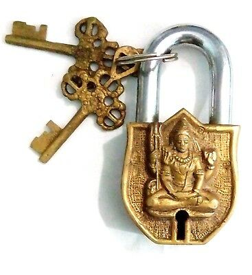 Handcrafted Handmade Vintage Antique finish Brass Lord Shiva Padlock from India