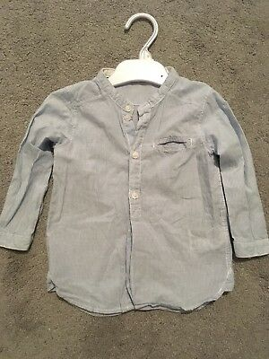 Boys Summery Shirt Blue And White Stripes No Collar H&M 12-18 Months