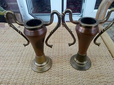 Early 20thc brass and copper ART NOUVEAU,ART & CRAFTS CANDLE HOLDERS  urn style