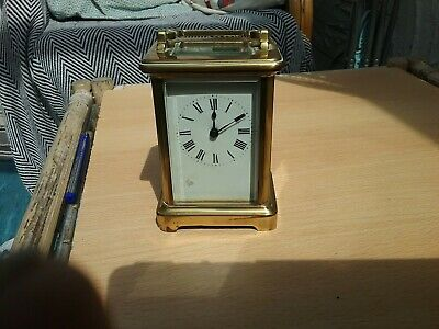 Antique Brass Carriage Clock with case  and  key