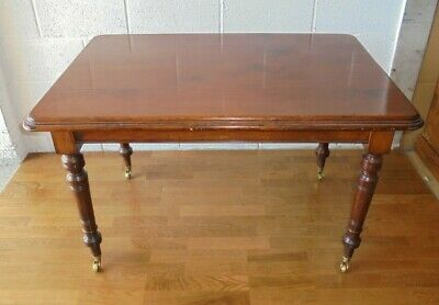 Antique Victorian Country Farmhouse Pine Kitchen Dining Table On Castors