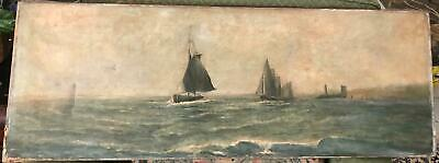 19th c. O/C, Sailboats on Ocean, Lighthouse, Signed Illegibly, AS FOUND