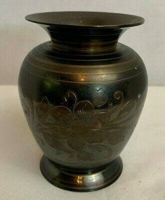 Vintage Solid Brass Vase Etched Floral 2-Tone Made in India