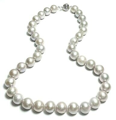 """Stunning Beautiful Smoke Gray 11-12mm FW Cultured Round Pearl 18"""" Necklace"""