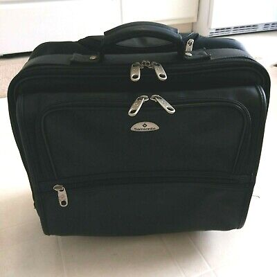 Samsonite Leather Wheeled Roller Bag Portfolio Laptop Case Luggage Black Handle