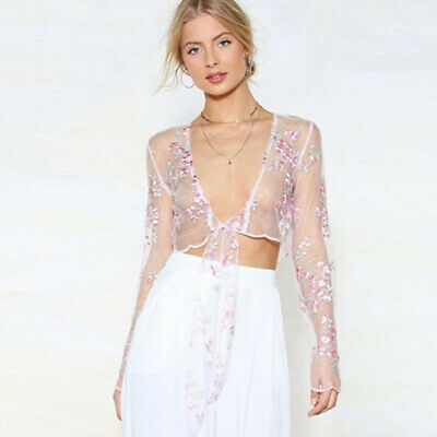Temperament Lace Embroidery Floral Top See Through V-Neck Blouse for Women W