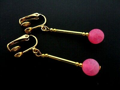 A Pair Of Gold Plated Pink Glass Bead Dangly Clip On  Earrings. New.