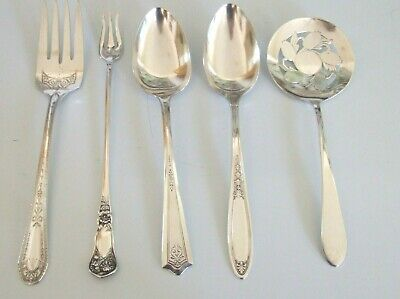 5  Antique Vintage Silverplate Serving Pieces Mixed Lot Recently Polished