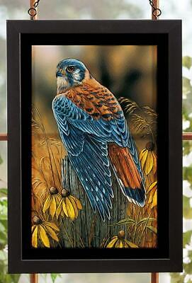 Fencepost Perch - Kestrel Stained Glass Art by Rosemary Millette