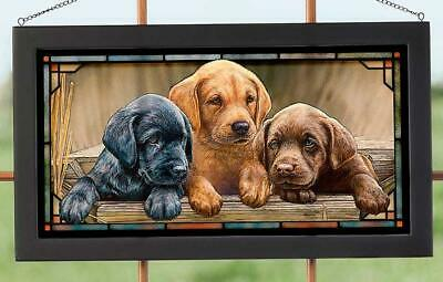 All Hands on Deck - Lab Puppies Stained Glass Art by Rosemary Millette