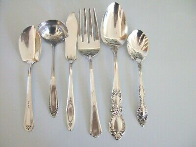 6  Antique Vintage Silverplate Specialty Serving  Pieces Mixed Lot Polished