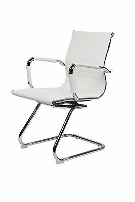 White Cantilever Office Boardroom Desk Chair Chrome Frame PU Leather
