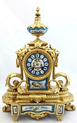 Antique French Mantle Clock Beautiful Gilt Metal & Blue Sevres 8Day By Japy