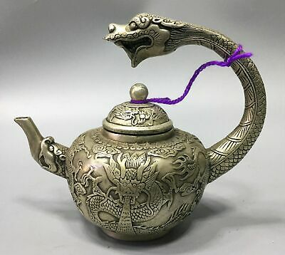 Collect Antique Tibet Silver Carve Myth Animal Dragon Wonderful Noble Tea pot