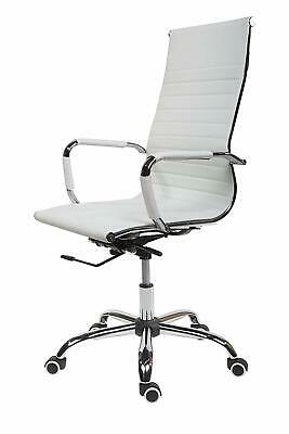 High Curved Office Desk Chair Swivel Adjustable Chair Faux White