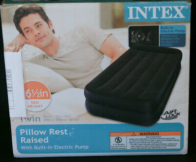 Intex Pillow Rest Raised Airbed with Pillow Electric Pump Size Twin NE
