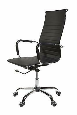 CosmoLiving High Curved Office Desk Chair Swivel Adjustable Chair Faux Black