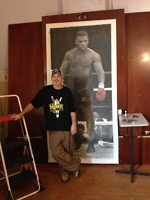 """Huge Mike Tyson Painting in artist oils on canvas by J. BLAH….. 44"""" x 96"""""""