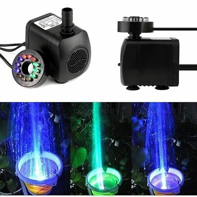 15W Submersible Water Pump with 12 LED Light for Fountain Pool Garden Pond Fish