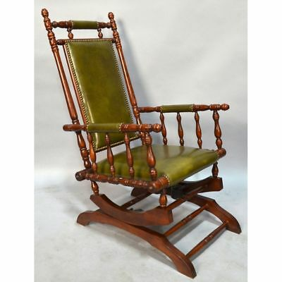 Stunning Vintage English Carved Mahogany & Leather Platform Rocking Chair