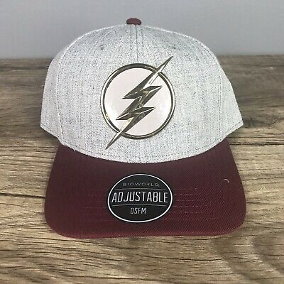 new concept 56a3b c1e08 DC Comics The Flash Chrome Weld Curved Snapback Grey Baseball Hat  Adjustable Cap