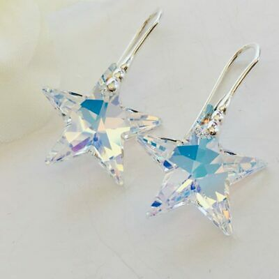 8440bc5c0 925 Sterling Silver Crystal Star Earrings Swarovski Elements AB Clear Gift