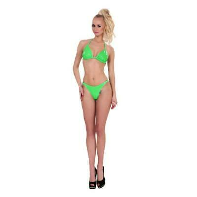 Sexy Damen Latexkleidung GP Datex Bikini Set Grün Latex-Mieder Erotik Reizwäsche
