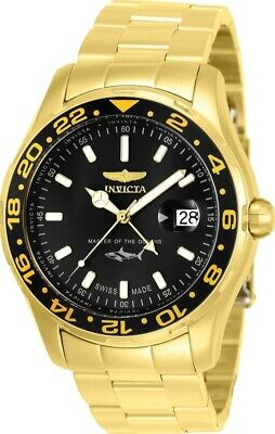 Invicta 25822 Men's Pro Diver Yellow Gold Steel Black Dial Watch