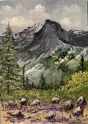 Aceo, acrylic,original, landscape, Overlooking Half-Dome By Donna Otey